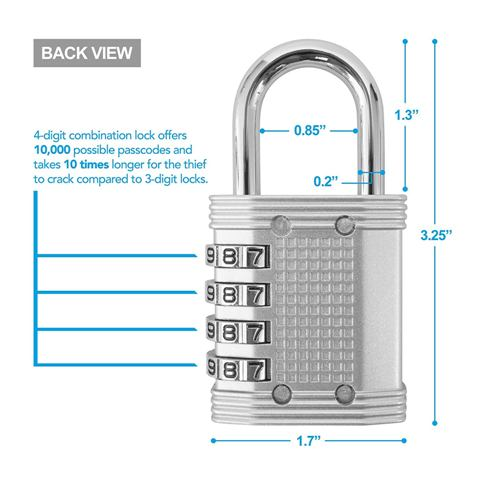 4 Digit Combination Lock features